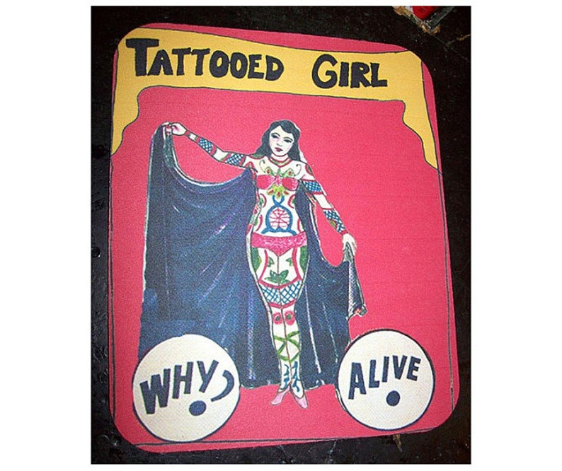 Pin up tattoo girl mouse pad freak sideshow show banner retro image 0