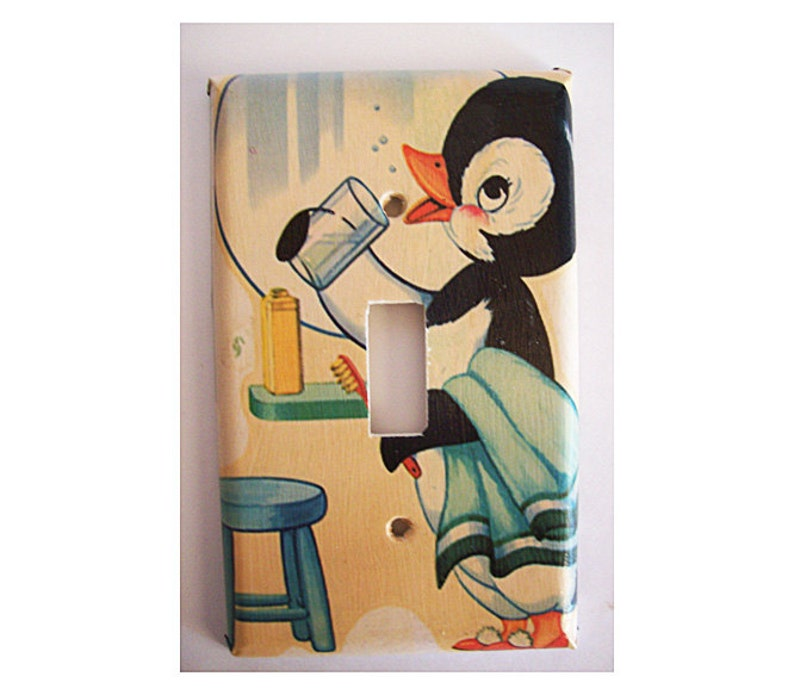 penguin switch plate retro vintage 1950s rockabilly kitsch image 0
