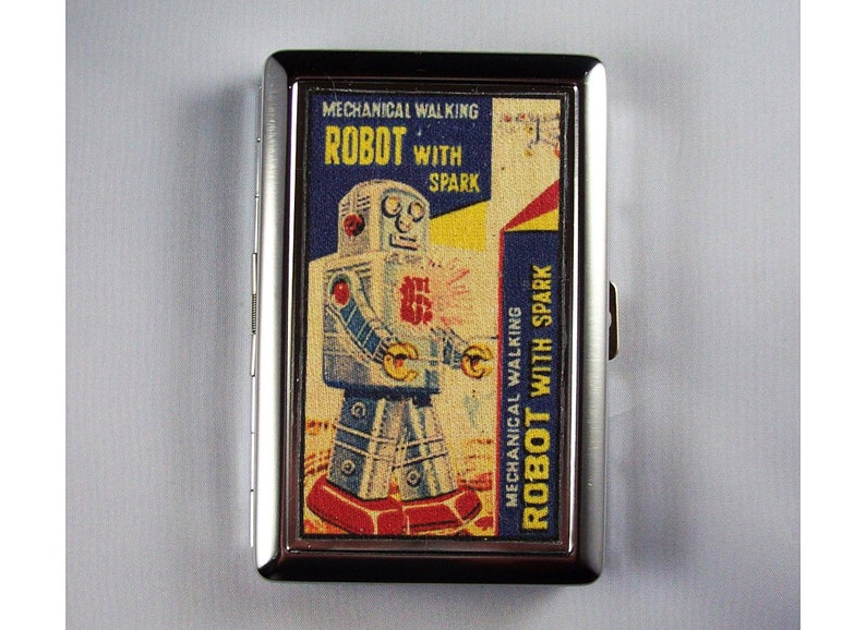 retro robot metal wallet vintage 1950's tin toy cigarette image 0
