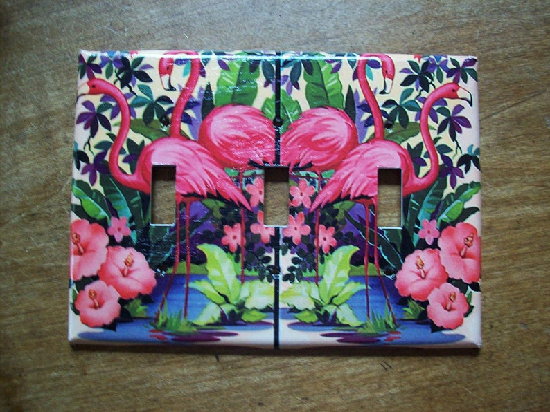 pink flamingo triple switch plate cover retro vintage 1950s image 0