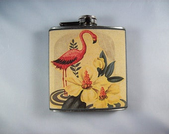 pink flamingo flask retro vintage 1950s rockabilly Florida deco kitsch