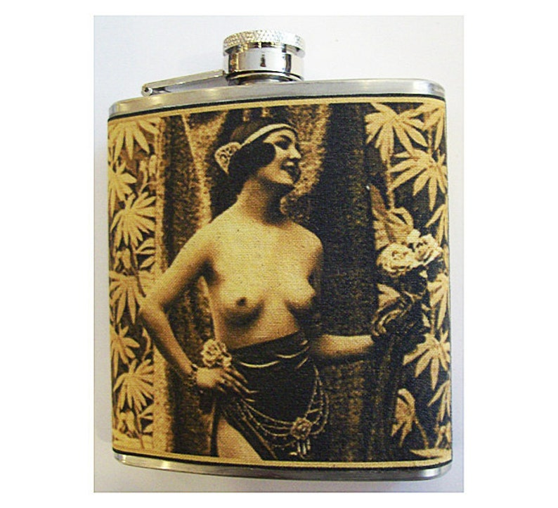 retro nude flask  vintage 1920s Paris pin up girl burlesque image 0