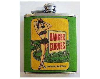 Pin up girl flask retro vintage 1950s rockabilly pinup kitsch hip flask