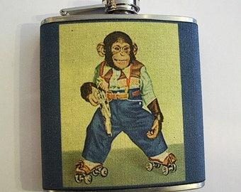 monkey flask retro vintage cartoon chimp 1950s animal kitsch