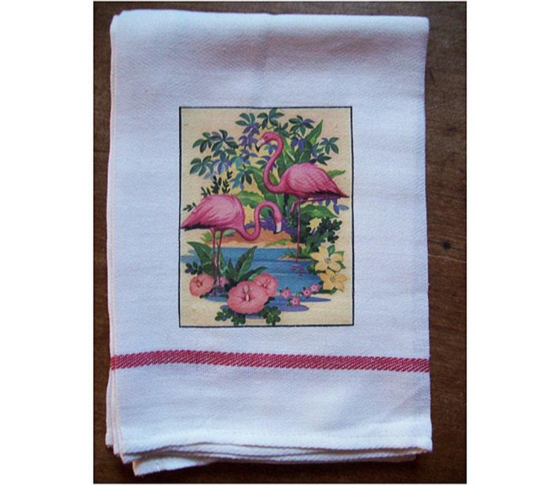 Flamingo dish towel retro 1950s Florida kitsch vintage image 0