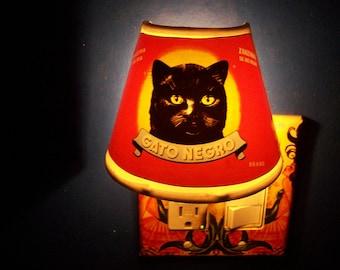 Black cat night light retro vintage Spanish label rockabilly kitsch lamp