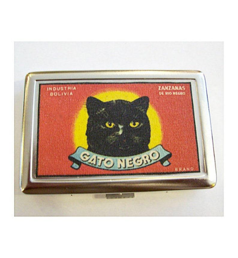 retro black cat metal wallet vintage advertising cigarette ID image 0