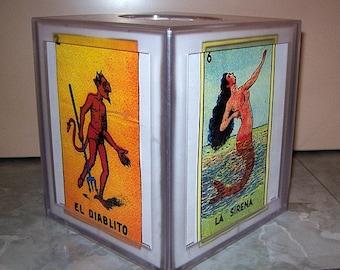 Loteria tissue box cover retro vintage Mexico bathroom Spanish kitchen kitsch
