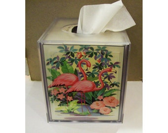 pink flamingo tissue box cover retro vintage 1950's Florida deco bathroom kitsch