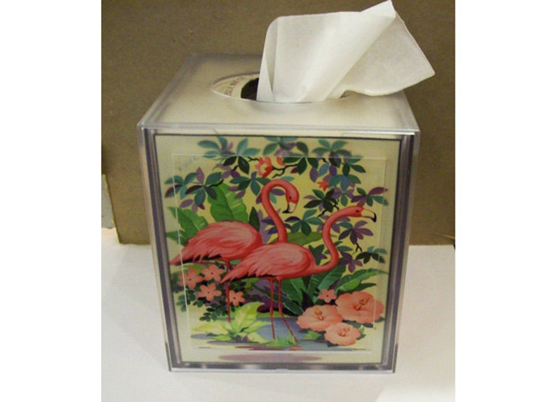 pink flamingo tissue box cover retro vintage 1950's image 0
