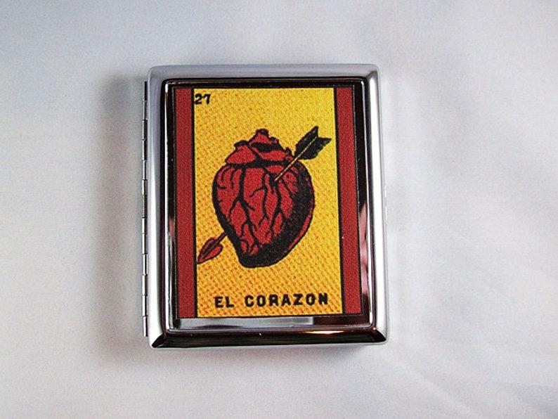 Loteria metal wallet retro cigarette case Mexicana Spanish ID image 0