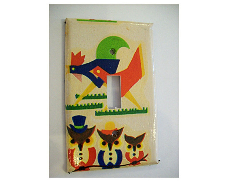 1950s rooster switch plate retro vintage owl rockabilly image 0