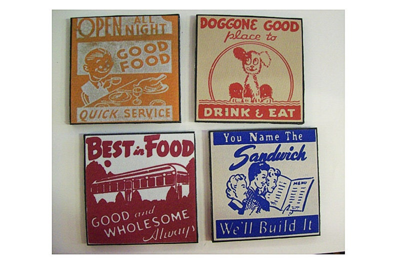 retro diner coaster set 1950s Route 66 vintage menu matchbook art  rockabilly kitsch