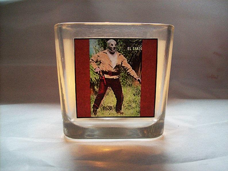lucha libre candle holder retro Mexican wrestler votive kitsch image 0