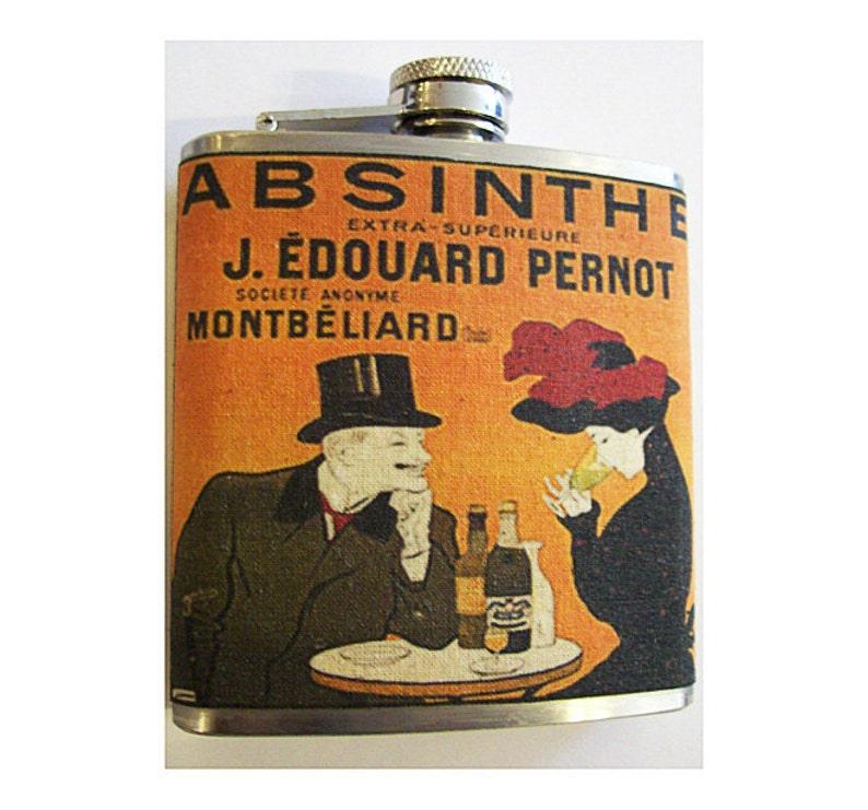 Absinthe flask retro vintage art nouveau alcohol advertising image 0
