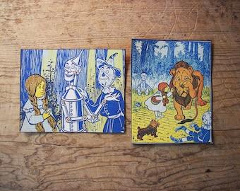 Wizard of Oz sew on patch set retro vintage fairy tale kitsch tin man scarecrow Dorothy