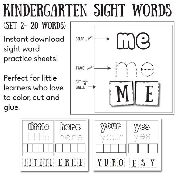 Kindergarten Sight Words Sight Words Educational Worksheet Etsy