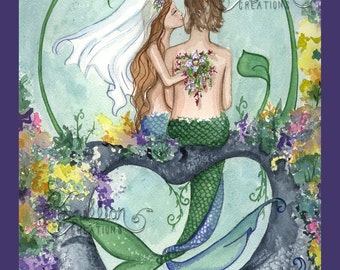 BEACH TURTLE Mermaid Print from Original Painting By Camille Grimshaw