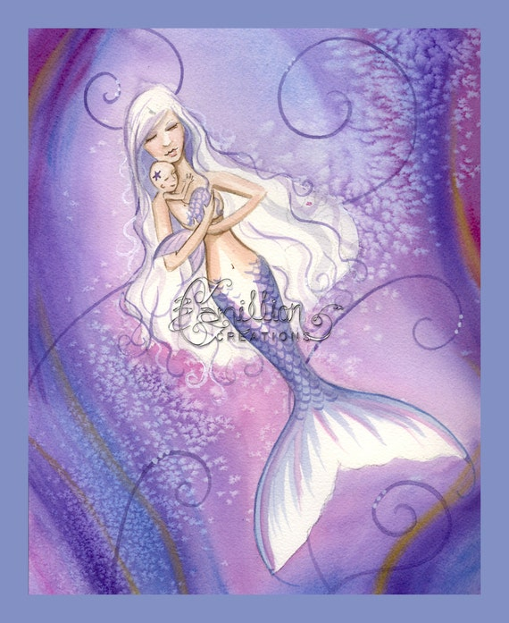 All My Love Mermaid and Baby Print from Original Painting By Camille Grimshaw