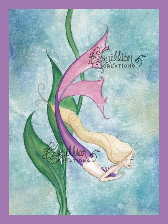 MARDI GRAS MERMAID NOTE CARDS from Original Watercolors by Camille Grimshaw