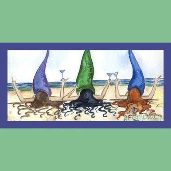 THREE/'S A PARTY Mermaid Beach Print from Original Painting By Camille Grimshaw