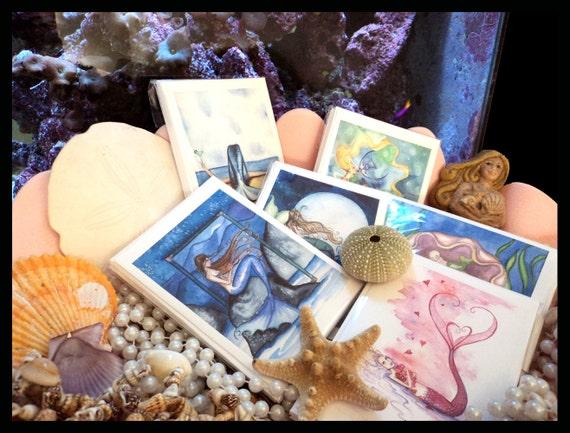 Navidad Playa rompope Sirena nota cartas de Original Acuarelas De Grimshaw