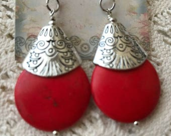 Handmade red and silver drop earrings