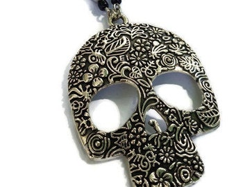 Dia de los Muertos Floral Skull Necklace - long & large