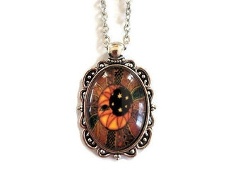 Golden Moon with Citrine Pendant Beaded Necklace