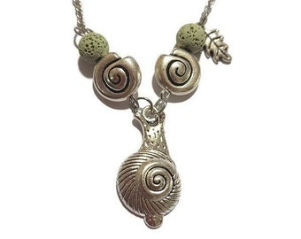 Cottagecore, Snail Necklace, lava beads, nickel free, chain necklace, Handmade, Garden vibes