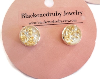 Silver and Gold flake Glass earrings nickel free