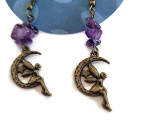 Fairy and Moon with Amethyst Stones Earrings, Nickel free, Celestial, Fae, Witchy