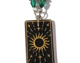 Tarot Card - The Sun - Acrylic Pendant Beaded Necklace