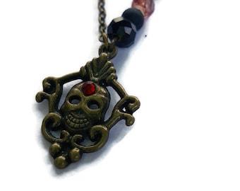 Headhunter Bronze Skull Pendant Necklace