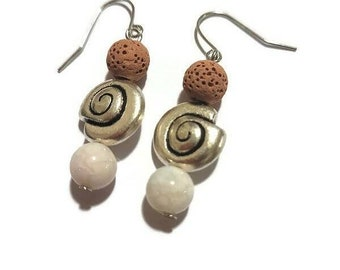 Snail shell earrings with agate and lava rock beads