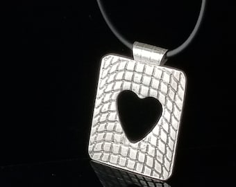 Sterling Silver Heart Pendant, Bold Statement Pendant Necklace, Oxidized Pendant Necklace