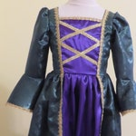 Girls French Colonial Witch, Winifred Sanderson, Hocus Pocus, Mardi Gras, Carnival, Venetian, Green and purple satin costume dress, NEW