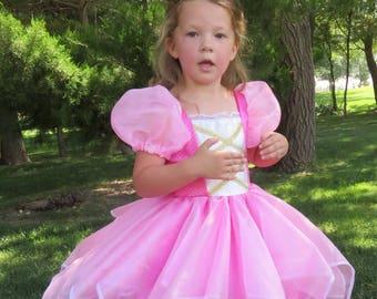 Cute Pink Fabulous Fairy Princess Tinkerbelle Costume Gown Pixie Make Believe, Pretend play, dress-up, halloween, birthday dress