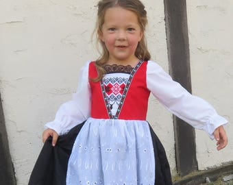 Cute Norwegian Bunad National Girls Costume Scandinavian Norway Hardanger Nordic International Folk Costume Dress