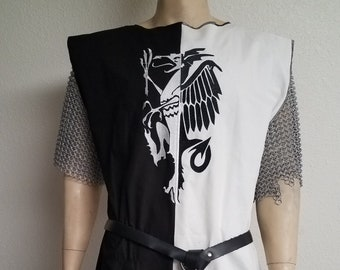 Black & White Medieval Knight surcoat with rampant dragon, renaissance garb, cosplay crusades, Lancelot, Search for Holy Grail, tunic tabard
