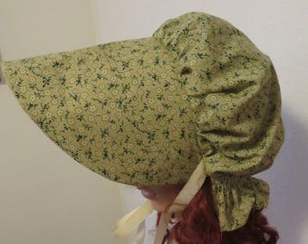 Women's Pioneer Prairie Victorian Civil War Bonnet Sunbonnet Primitive, trek, historical, hat, reenactment, 1800's, green and tan, pilgrim