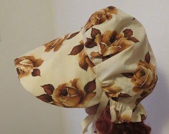 Women's Pioneer Prairie Victorian Civil War Bonnet Sunbonnet Primitive, trek, historical, hat, reenactment, 1800's,brown roses, pilgrim new