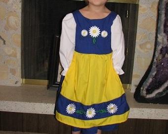 Cute Swedish National Girls Costume Scandinavian Sweden International Folk Costume Dress, blue daisies yellow, flowers dress-up, traditional