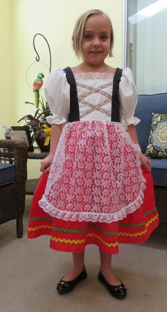 Cute Girls Italian National Traditional Folk Dress Italy International Tarantella Folk Dance Costume Historical Lace Apron Sizes 2 To 8