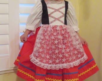 Cute Girls Italian National traditional Folk Dress, Italy, international, Tarantella Folk Dance costume, historical, lace apron sizes 2 to 8