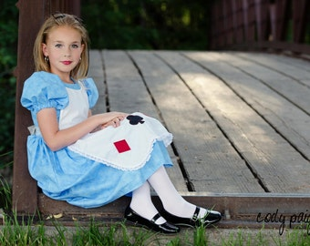 Cute Alice in Wonderland Girls Costume Dress playing cards, blue, pretend play, dress-up, halloween, story book, fairy tale, nursery rhyme