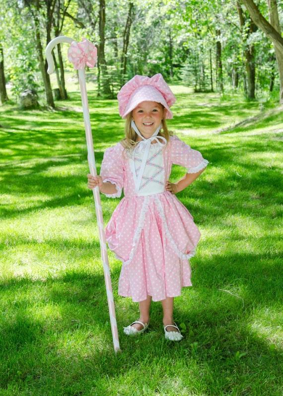 Nursery Rhyme Polka Dot Bo Peep Dress Costume Deluxe Girls Child Cute Pink Blue