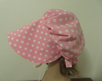 Girls Pioneer Sunbonnet, Prairie, Victorian, Civil War Bonnet, Primitive, Poke Bonnet, Hat, Sun Bonnet, Pink Polka Dot, Little Bo Peep, NEW