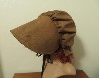 Beautiful Women's Pioneer Trek Bonnet, Prairie, Victorian, Civil War, Sunbonnet, Primitive. Golden brown, hat, Poke Bonnet, reenactment