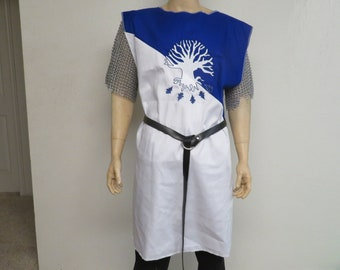 Blue & White Knight Medieval Surcoat with embroidered Tree, renaissance, Sir Bedevere, search for the holy grail, tunic, tabard, cosplay